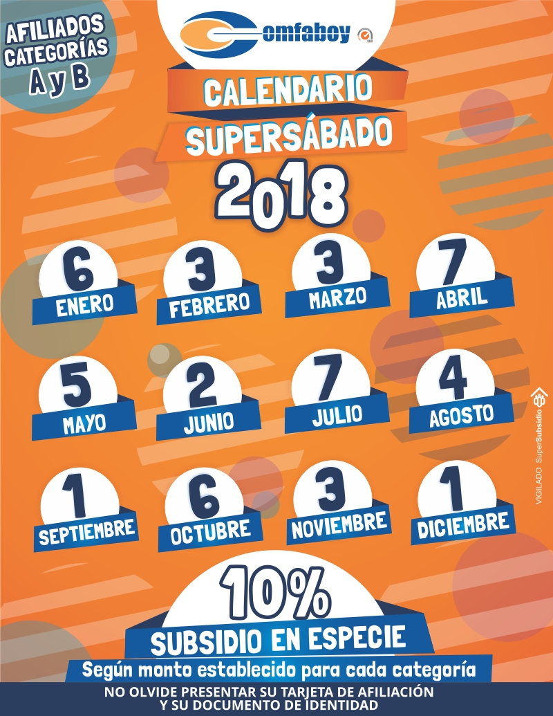 CALENDARIO SUPERSABADO 18